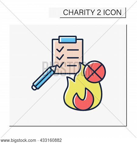 Fire Prevention Charities Color Icon. Public Fire And Emergency Services. Checklist Of Safety Places