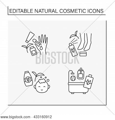 Natural Cosmetic Line Icons Set. Serum For Feet Moisturizing, Beauty Procedure For Baby, Lotion And