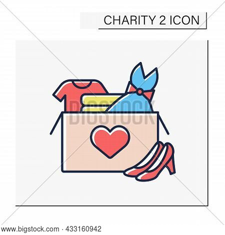 Clothing Donation Color Icon. Share Used Clothes With Stray Or Poor People. Shoes, Dress, Suit For D