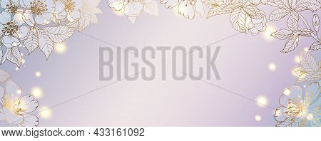 Luxurious Golden Wallpaper With Flowers. Banner With Background. Blue And Lilac Watercolor Colors. G
