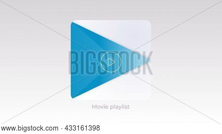 Music Player Button On White Background. Motion. Moving Button For Playing Music Or Movies. Colored