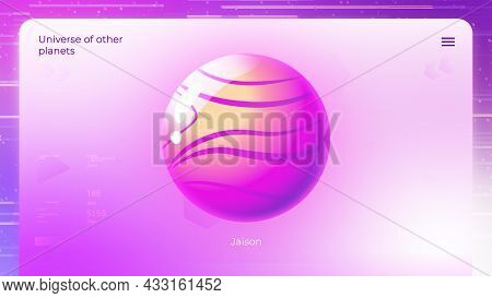 Electronic Data About Another Planet. Motion. Animation With Simplified Model Of Planet From Another
