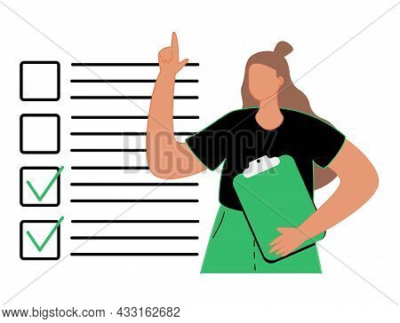 To-do List, Performing Prescribed Tasks, Filling Out A Questionnaire. Cute Cartoon Woman Ticks The D