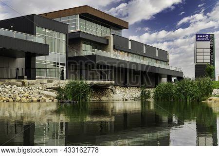 Calgary Alberta Canada, September 14 2021: The Sage Hill Quarters Mixed Business And Condo Centre.