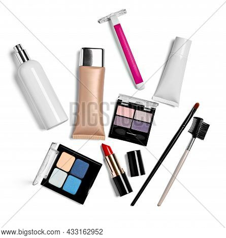 Close Up Of A Various Full Of Make Up On White Background