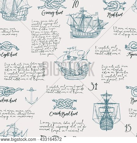 Vintage Seamless Pattern On Theme Of Sea Travels And Adventures. Repeating Vector Background With Ha