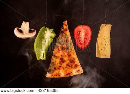 Slice Of Mozzarella Delicious Pizza Tomato Cheese Peeper And Mushroom Ingredients. Preparing Food