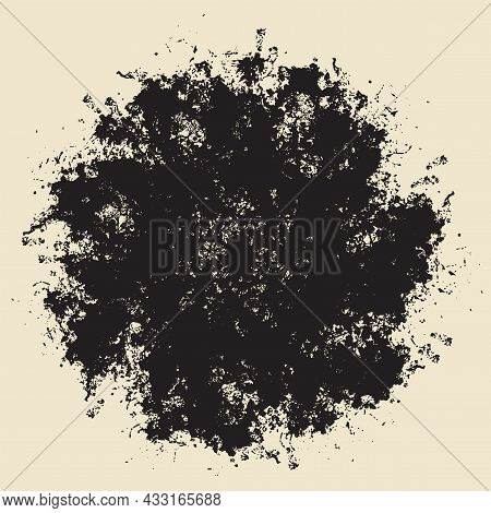 Abstract Vector Banner With A Chaotic Cluster Of Black Spots In The Shape Of A Circle Or Mandala. Cr