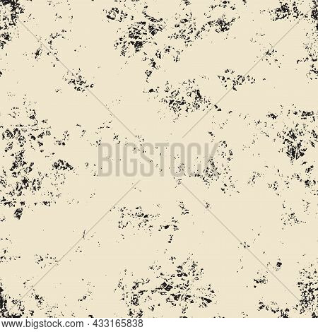 Abstract Seamless Pattern With Chaotic Black Spots On A Beige Backdrop In The Grunge Style. Monochro