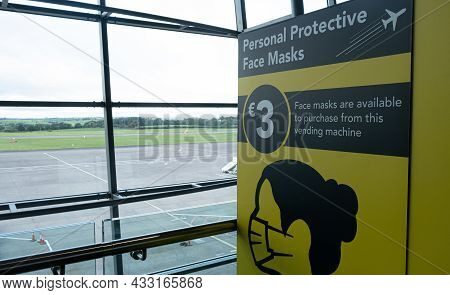 Cork, Ireland, September 10 2021: Yellow Sign For Purchasing Personal Protective Safe Masks For Covi