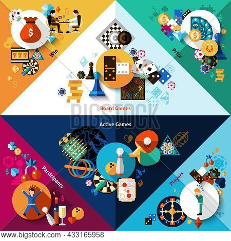 Games Of Chance Table And Active Sport Corners Set Isolated Vector Illustration