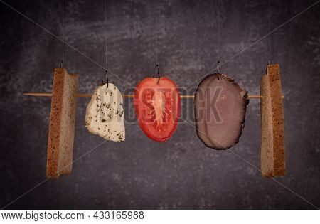 Fresh Healthy Sandwich Ingredients On Black Background. Cheese, Tomato, Meat, Bread And Halloumi. Fo