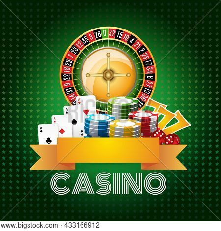 Casino Club Poster Print With Roulette Aces Set And Chips On Green Background Flat Abstract Vector I
