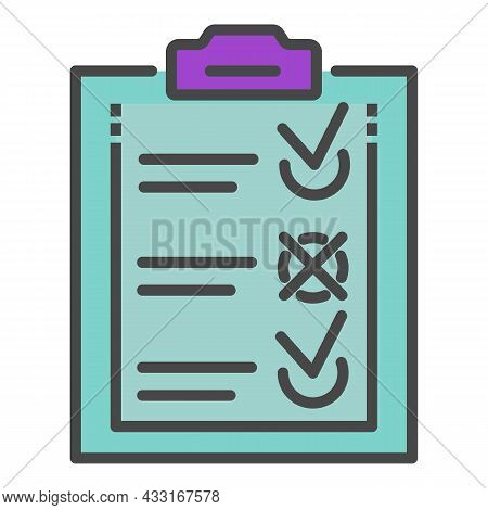 Delivery Check List Icon. Outline Delivery Check List Vector Icon Color Flat Isolated On White