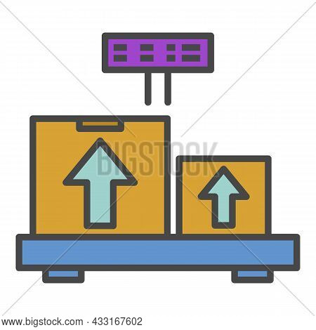 Weighing Delivery Box Icon. Outline Weighing Delivery Box Vector Icon Color Flat Isolated On White