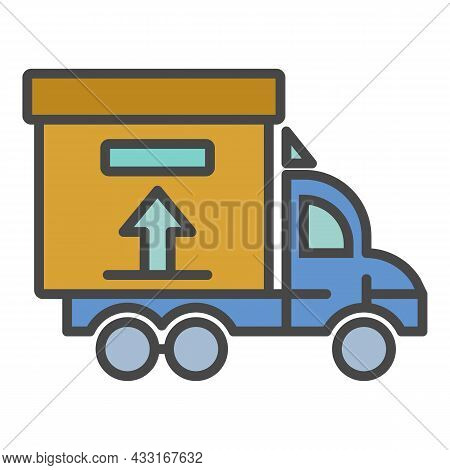 Truck Delivery Box Icon. Outline Truck Delivery Box Vector Icon Color Flat Isolated On White