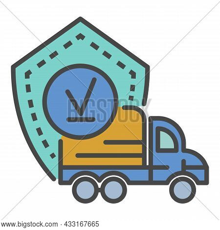 Finish Truck Delivered Icon. Outline Finish Truck Delivered Vector Icon Color Flat Isolated On White