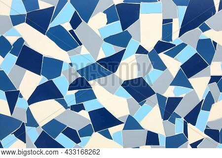 Broken Tiles On The Wall, Floor. Background, Texture Of Blue Tiles. Beautiful Decorative Material Fo
