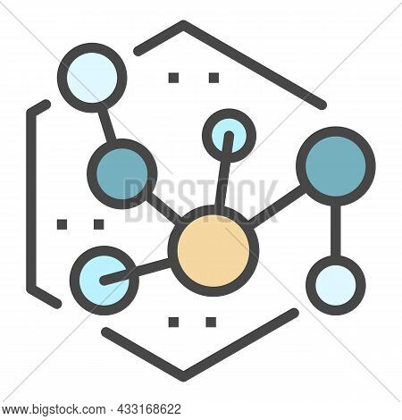 New Molecule Icon. Outline New Molecule Vector Icon Color Flat Isolated On White