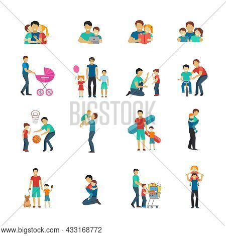 Fatherhood Flat Icons Set With Father Playing With Children Isolated Vector Illustration