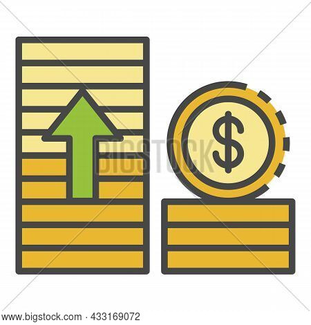 Money Grow Up Icon. Outline Money Grow Up Vector Icon Color Flat Isolated On White