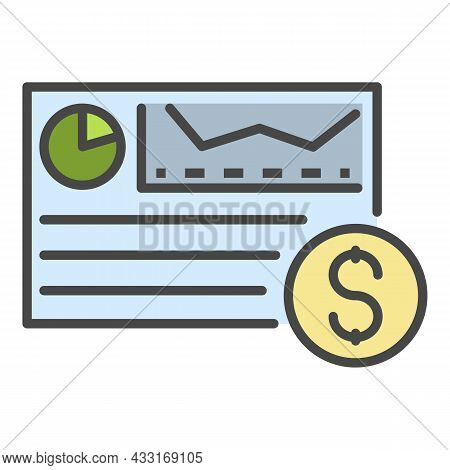 Money Cash Graph Icon. Outline Money Cash Graph Vector Icon Color Flat Isolated On White