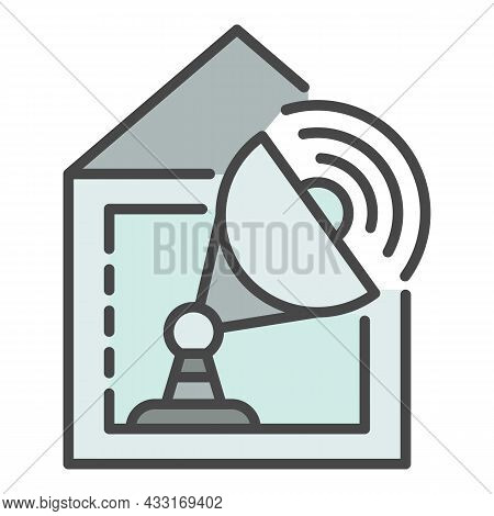 Satellite Home Tv Icon. Outline Satellite Home Tv Vector Icon Color Flat Isolated On White