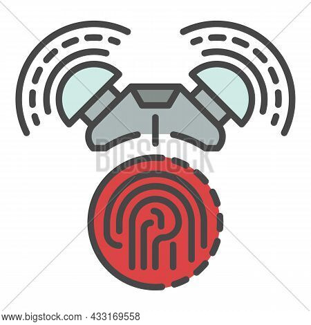 Fingerprint Alarm Icon. Outline Fingerprint Alarm Vector Icon Color Flat Isolated On White