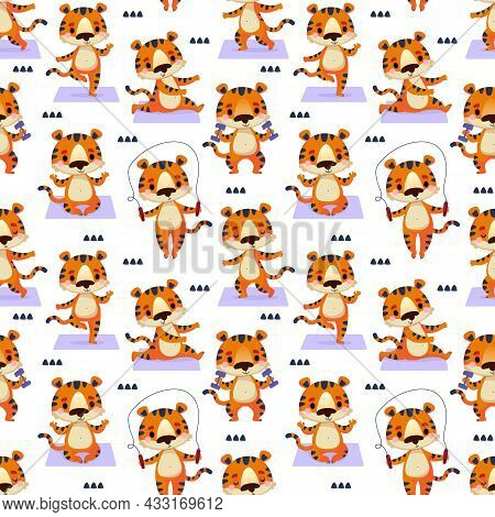 Seamless Pattern With A Tiger In Different Poses, Which Goes In For Sports On A Yoga Mat. Vector Art