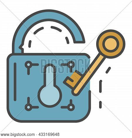 Unlock Device Security Icon. Outline Unlock Device Security Vector Icon Color Flat Isolated On White
