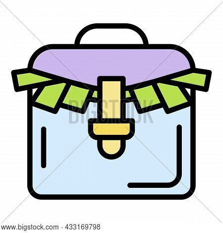 Bribery Money Suitcase Icon. Outline Bribery Money Suitcase Vector Icon Color Flat Isolated On White