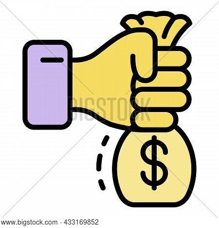 Hand Take Bribery Money Bag Icon. Outline Hand Take Bribery Money Bag Vector Icon Color Flat Isolate