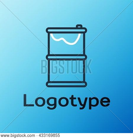 Line Barrel Oil Leak Icon Isolated On Blue Background. Colorful Outline Concept. Vector Illustration