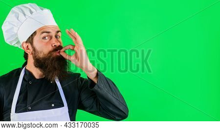 Professional Chef Showing Delicious Sign. Bearded Cook Or Baker Gesturing Excellent. Perfect Sign. T