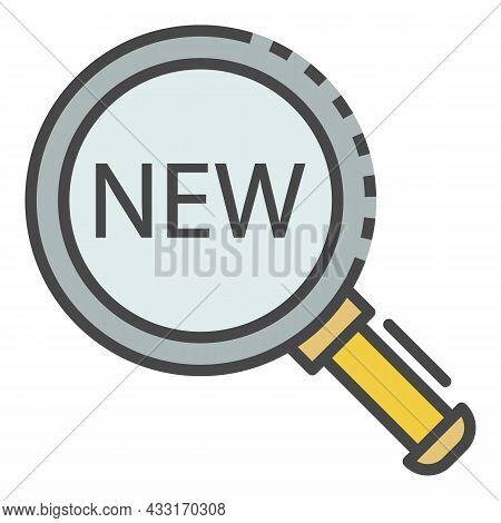Magnify Glass New Find Icon. Outline Magnify Glass New Find Vector Icon Color Flat Isolated On White
