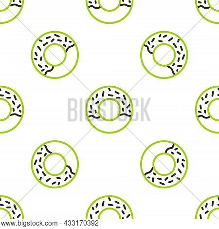 Line Donut With Sweet Glaze Icon Isolated Seamless Pattern On White Background. Vector
