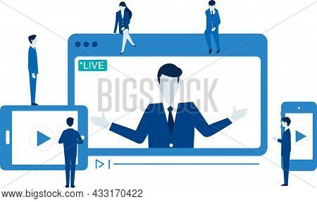 Remote Work Image,dezvice And Businessperson,vector Illustration,white Isolated