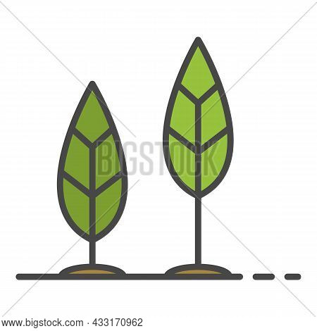 Grow Up Leaf Icon. Outline Grow Up Leaf Vector Icon Color Flat Isolated On White