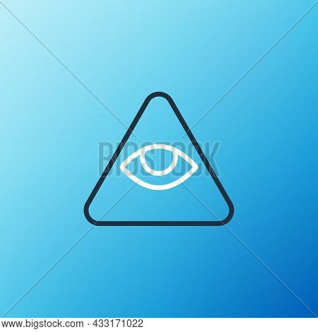 Line Masons Symbol All-seeing Eye Of God Icon Isolated On Blue Background. The Eye Of Providence In