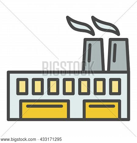 Eco Friendly Factory Icon. Outline Eco Friendly Factory Vector Icon Color Flat Isolated On White