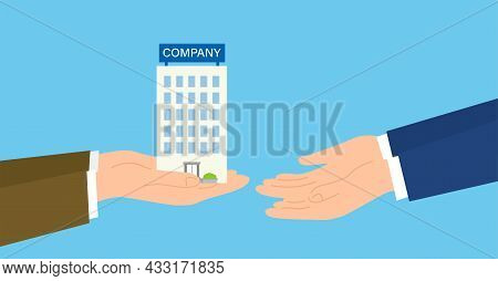 Buy Out,transfer And Acquisition Of Business,hand Over The Company,blue Background,vector Illustrati