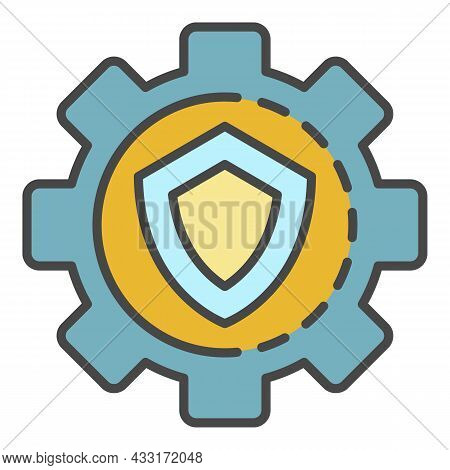 Gear Wheel Secured Icon. Outline Gear Wheel Secured Vector Icon Color Flat Isolated On White