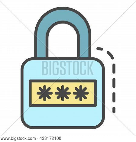 Padlock Icon. Outline Padlock Vector Icon Color Flat Isolated On White