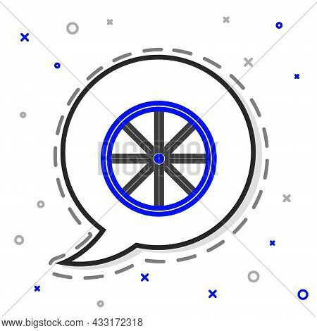 Line Bicycle Wheel Icon Isolated On White Background. Bike Race. Extreme Sport. Sport Equipment. Col