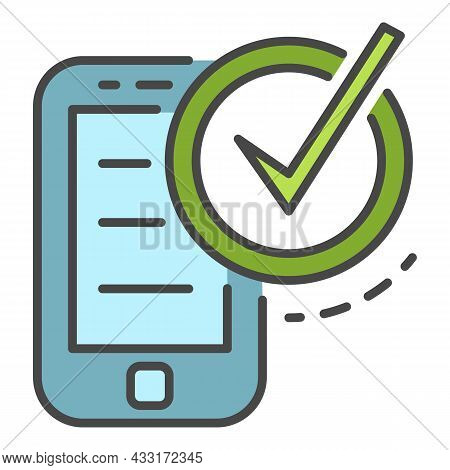 Checked Smartphone Icon. Outline Checked Smartphone Vector Icon Color Flat Isolated On White