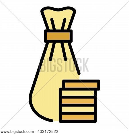 Jewish Money Bag Icon. Outline Jewish Money Bag Vector Icon Color Flat Isolated On White
