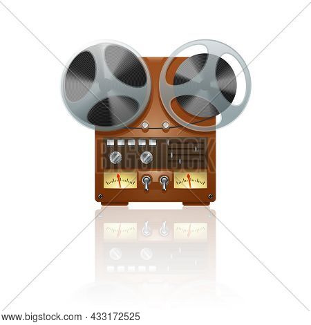 Nostalgic Vintage Bobbin Tape Player Recorder Device Icon Print With Mirror Reflection Abstract Vect