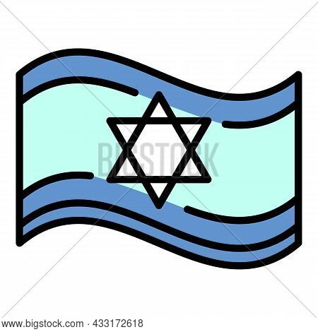 Jewish Flag Icon. Outline Jewish Flag Vector Icon Color Flat Isolated On White