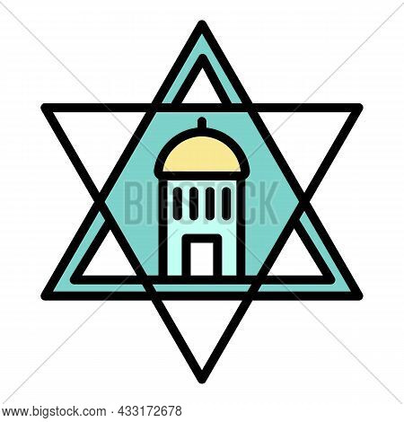 Jewish Temple Star Icon. Outline Jewish Temple Star Vector Icon Color Flat Isolated On White