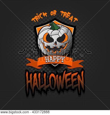 Happy Halloween. Logo Volleyball Ball As Pumpkin